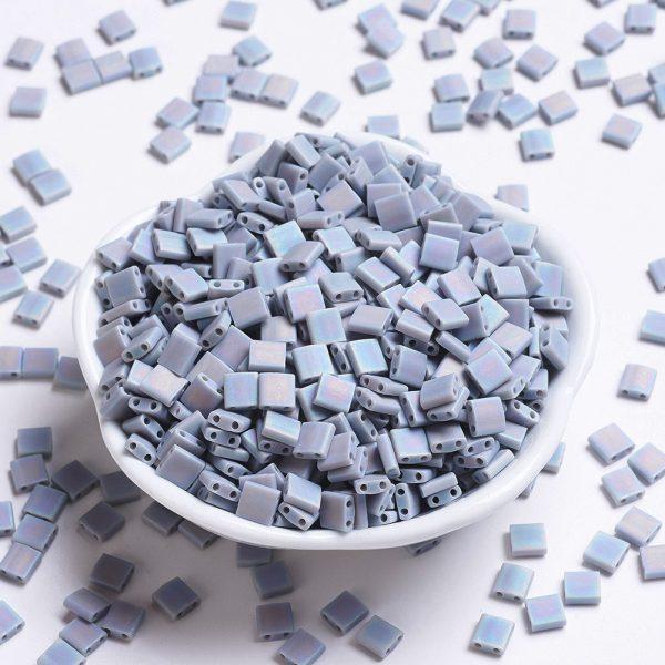 X SEED J020 TL498FR MIYUKI TILA TL498FR Matte Opaque Gray AB Seed Beads, 10g/Bag