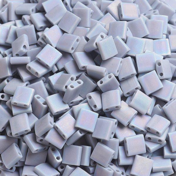X SEED J020 TL498FR 3 MIYUKI TILA TL498FR Matte Opaque Gray AB Seed Beads, 10g/Bag