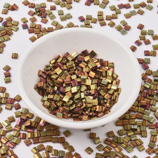 MIYUKI TILA TL462 Metallic Gold Iris Seed Beads