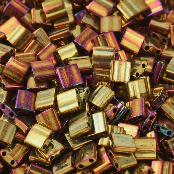 SEED J020 TL0462 1 MIYUKI TILA TL462 Metallic Gold Iris Seed Beads, 50g/Bag
