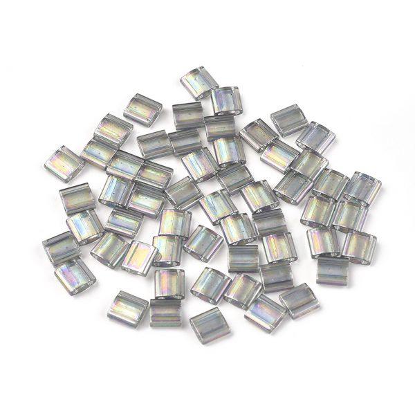 SEED J020 TL2440D 1 MIYUKI TILA TL2440D Dark Transparent Gray Rainbow Luster Seed Beads, 100g/Bag