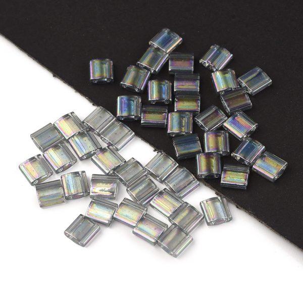 SEED J020 TL2440D 2 MIYUKI TILA TL2440D Dark Transparent Gray Rainbow Luster Seed Beads, 100g/Bag