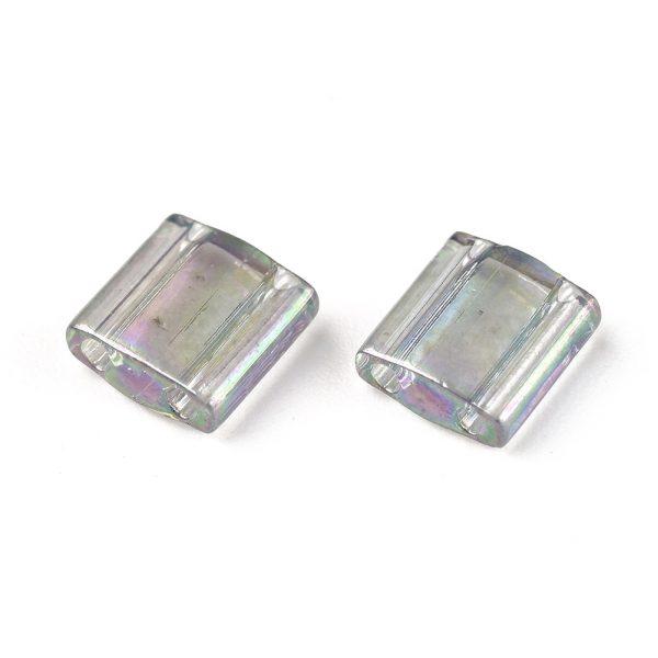 SEED J020 TL2440D 3 MIYUKI TILA TL2440D Dark Transparent Gray Rainbow Luster Seed Beads, 100g/Bag