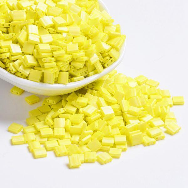 SEED J020 TL404FR 1 MIYUKI TILA TL404FR Matte Opaque Yellow AB Seed Beads, 100g/Bag