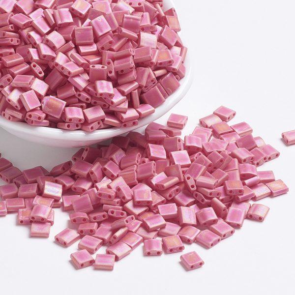 SEED J020 TL408FR 1 MIYUKI TILA TL408FR Matte Opaque Red AB Seed Beads, 10g/Bag