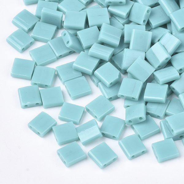 SEED J020 TL412 0 MIYUKI TILA TL412 Opaque Turquoise Green Seed Beads, 10g/Bag