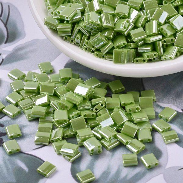 SEED J020 TL439 3 MIYUKI TILA TL439 Opaque Chartreuse Luster Seed Beads, 50g/Bag