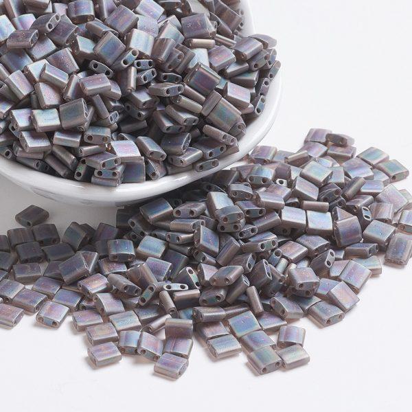 SEED JP0008 TL135FR 1 MIYUKI TILA TL135FR Matte Transparent Root Beer AB Seed Beads, 10g/Bag