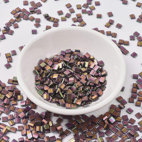 SEED JP0008 TL1893 MIYUKI TILA TL1893 Plum Gold Luster Seed Beads, 10g/Bag