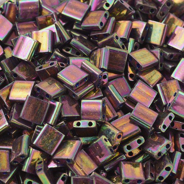 SEED JP0008 TL1893 1 MIYUKI TILA TL1893 Plum Gold Luster Seed Beads, 10g/Bag
