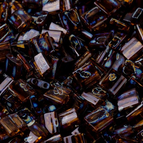 SEED JP0008 TL4502 1 MIYUKI TILA TL4502 Transparent Dark Topaz Picasso Seed Beads, 10g/Bag