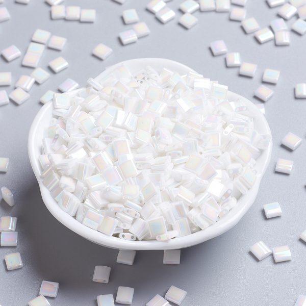 SEED JP0008 TL471 MIYUKI TILA TL471 White Pearl AB Seed Beads, 50g/Bag