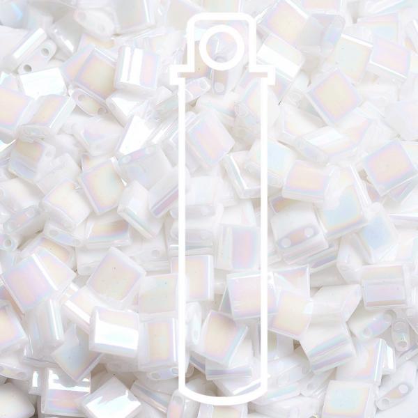 SEED JP0008 TL471 3 MIYUKI TILA TL471 White Pearl AB Seed Beads, 10g/Tube