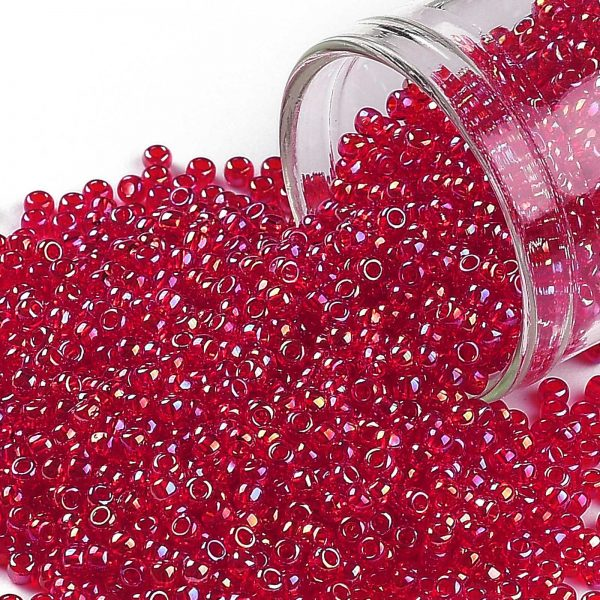 SEED TR11 0165B 0 TOHO #165B Round Seed Beads, Transparent AB Siam Ruby 11/0, 2.2mm, Hole: 0.8mm, about 50000pcs/450g