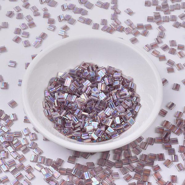 SEED X0054 TL0256 MIYUKI TILA TL256 Transparent Smoky Amethyst AB Seed Beads, 100g/Bag