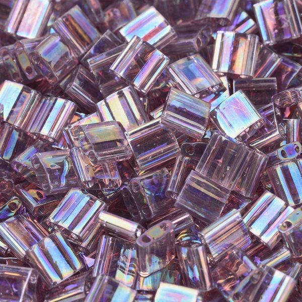 SEED X0054 TL0256 1 MIYUKI TILA TL256 Transparent Smoky Amethyst AB Seed Beads, 50g/Bag