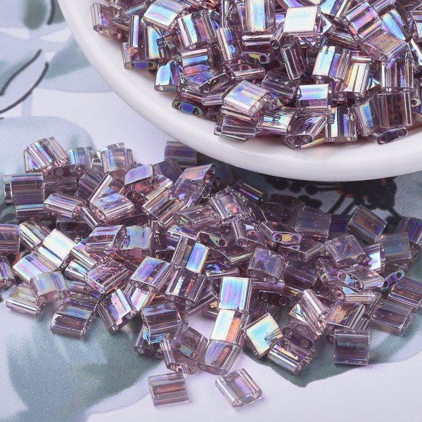 SEED X0054 TL0256 3 MIYUKI TILA TL256 Transparent Smoky Amethyst AB Seed Beads, 100g/Bag