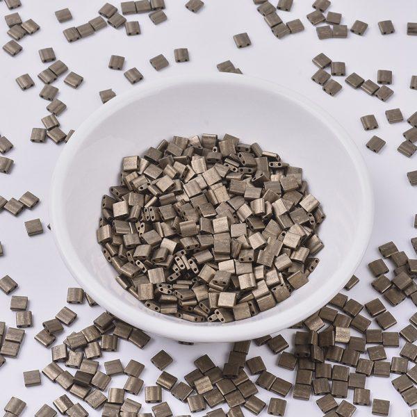 X SEED J020 TL2006 MIYUKI TILA TL2006 Matte Metallic Dark Bronze Seed Beads, 50g/Bag