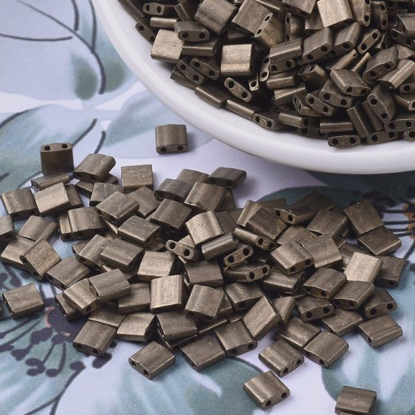 X SEED J020 TL2006 3 MIYUKI TILA TL2006 Matte Metallic Dark Bronze Seed Beads, 100g/Bag