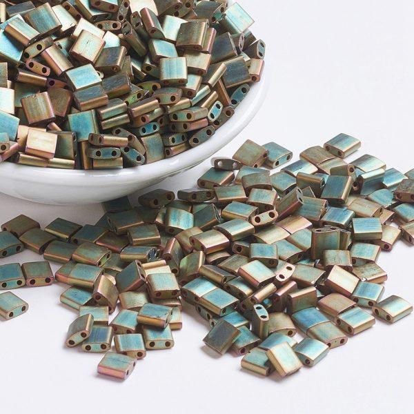 X SEED J020 TL2035 1 MIYUKI TILA TL2035 Matte Metallic Khaki Iris Seed Beads, 10g/Bag