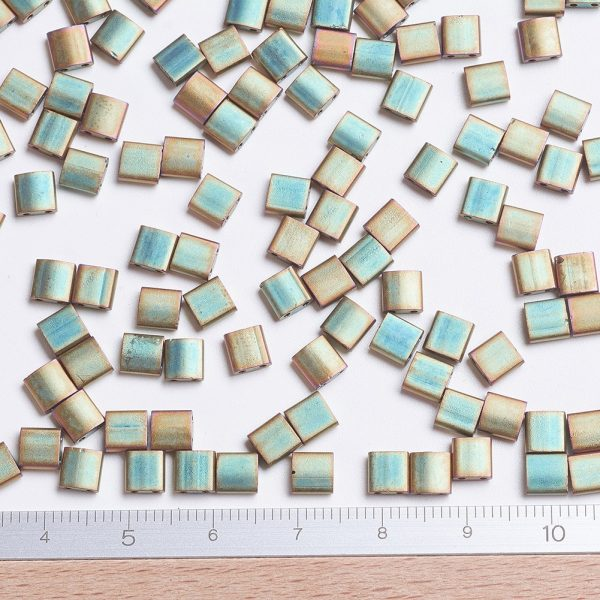 X SEED J020 TL2035 2 MIYUKI TILA TL2035 Matte Metallic Khaki Iris Seed Beads, 10g/Bag