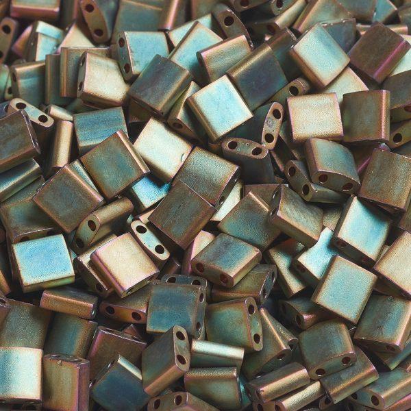 X SEED J020 TL2035 3 MIYUKI TILA TL2035 Matte Metallic Khaki Iris Seed Beads, 10g/Bag