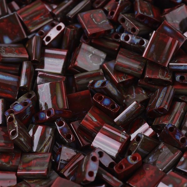 X SEED J020 TL4521 1 MIYUKI TILA TL4521 Opaque Red Picasso Seed Beads, 10g/Tube