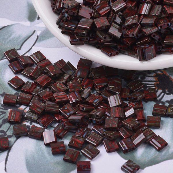 X SEED J020 TL4521 3 MIYUKI TILA TL4521 Opaque Red Picasso Seed Beads, 100g/Bag