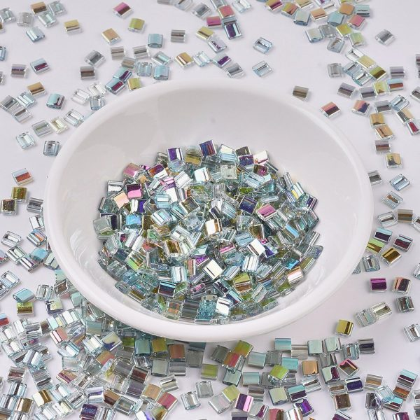 X SEED J020 TL4577 MIYUKI TILA TL4577 Crystal Green Rainbow Seed Beads, 50g/Bag