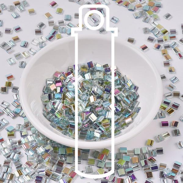 X SEED J020 TL4577 MIYUKI TILA TL4577 Crystal Green Rainbow Seed Beads, 10g/Tube