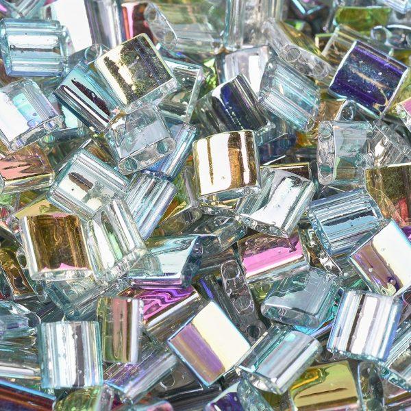 X SEED J020 TL4577 1 MIYUKI TILA TL4577 Crystal Green Rainbow Seed Beads, 10g/Tube
