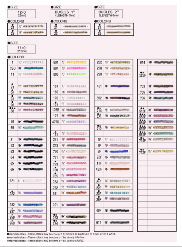 1 TOHO Sample Cards | #5-A - 11/0 & 12/0 Triangle Beads, Free Download