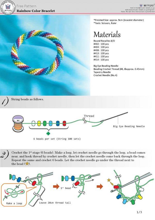 Free Download RainbowColorBracelet MIYUKI Rainbow Color Bracelet Free Pattern - Round Rocailles Seed Beads 8/0, Free Download