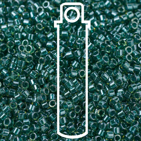 SEED JP0008 DB0919 1 MIYUKI DB0919 Delica Beads 11/0 - Transparent Sparkling Dark Teal Lined Chartreuse, 10g/tube