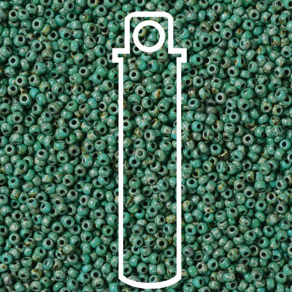 SEED JP0009 RR4514 1 MIYUKI 8-4514 Round Rocailles Beads 8/0, RR4514 Opaque Turquoise Blue Picasso, 10g/tube