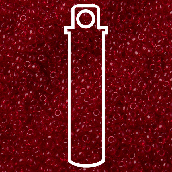SEED JP0010 RR0141 1 MIYUKI 15-141 Round Rocailles Beads 15/0, RR141 Transparent Ruby, 10g/tube