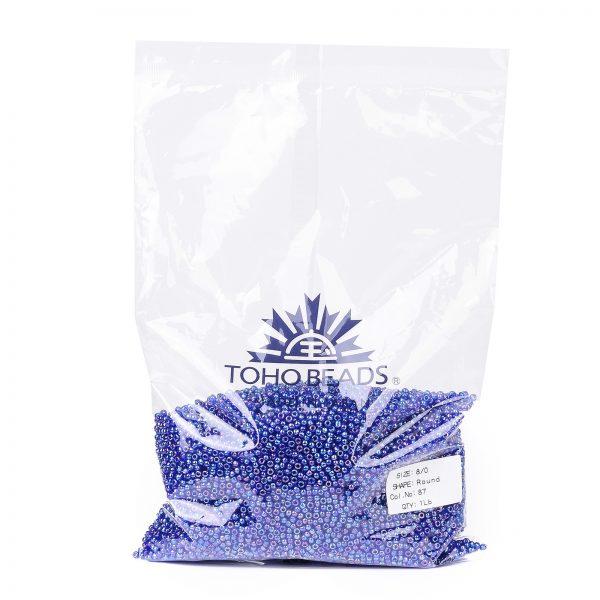 SEED TR08 0087 4 TOHO #87 8/0 Transparent AB Cobalt Round Seed Beads, 450g/bag