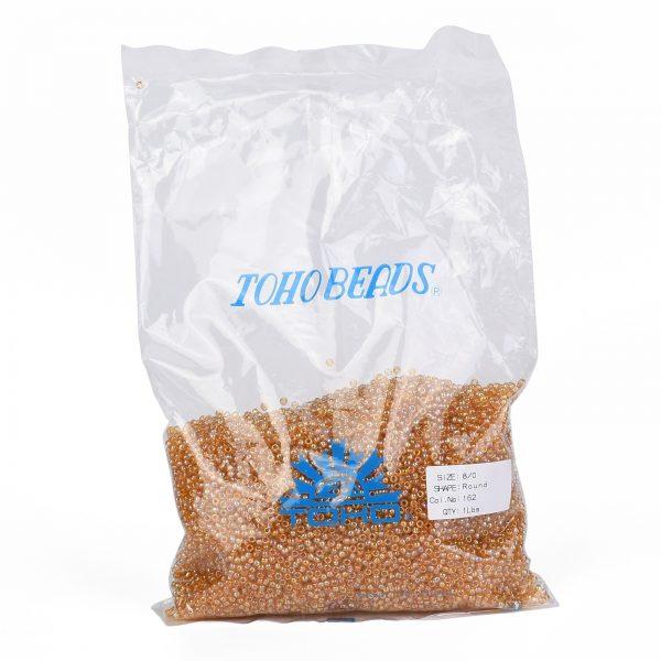 SEED TR08 0162 4 TOHO #162 8/0 Transparent AB Light Amber Round Seed Beads, 450g/bag