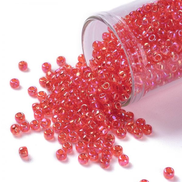 SEED TR08 0165 TOHO #165 8/0 Transparent AB Light Siam Ruby Round Seed Beads, 10g/bag