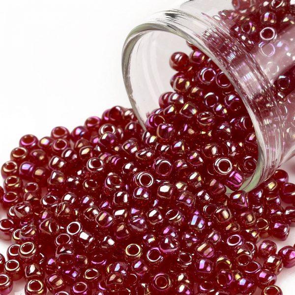 SEED TR08 0165C TOHO #165C 8/0 Transparent AB Ruby Round Seed Beads, 450g/bag