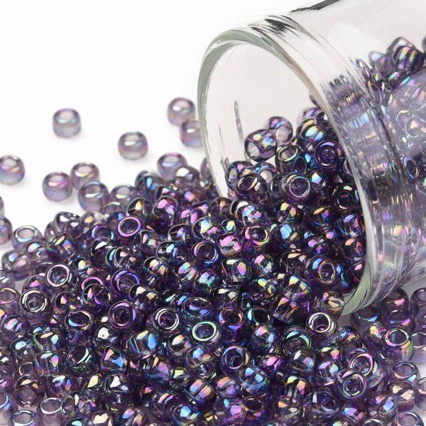 SEED TR08 0166D TOHO #166D 8/0 Transparent AB Sugar Plum Round Seed Beads, 10g/bag
