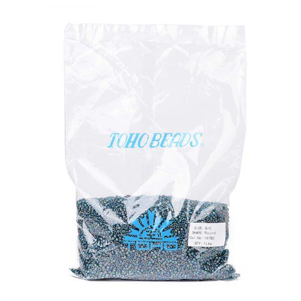 SEED TR08 0167BD 4 TOHO #167BD 8/0 Transparent AB Teal Round Seed Beads, 450g/bag