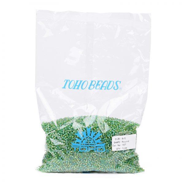SEED TR08 0167 4 TOHO #167 8/0 Transparent AB Peridot Round Seed Beads, 450g/bag