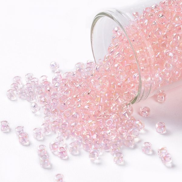 SEED TR08 0171 TOHO #171 8/0 Transparent Dyed AB Ballerina Pink Round Seed Beads, 10g/bag