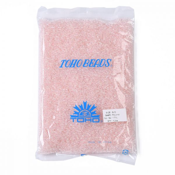 SEED TR08 0171L 4 TOHO #171L 8/0 Dyed Light Pink Transparent Rainbow Round Seed Beads, 450g/bag