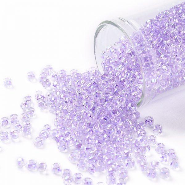 SEED TR08 0477D TOHO #477D 8/0 Transparent AB Foxglove Round Seed Beads, 10g/bag