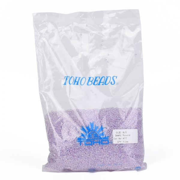 SEED TR08 0477 4 TOHO #477 8/0 Transparent Dyed AB Lavender Mist Round Seed Beads, 450g/bag