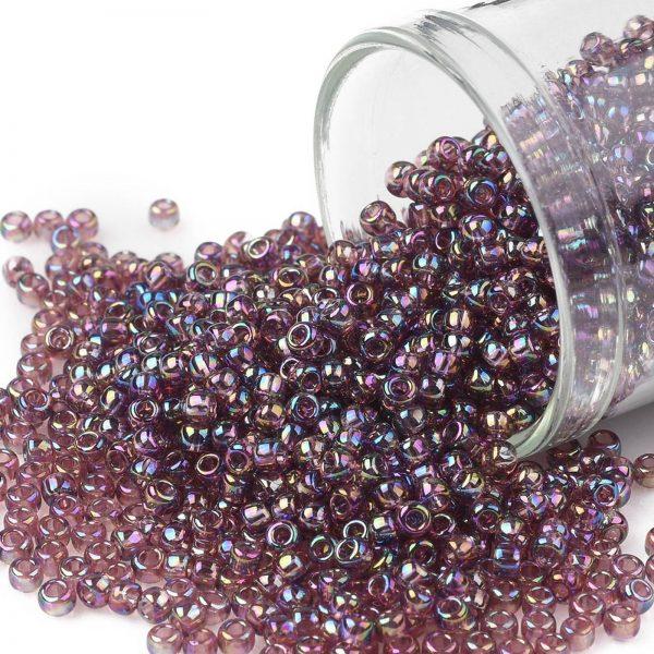 SEED TR11 0166B TOHO #166B 11/0 Transparent AB Medium Amethyst Round Seed Beads, 450g/bag