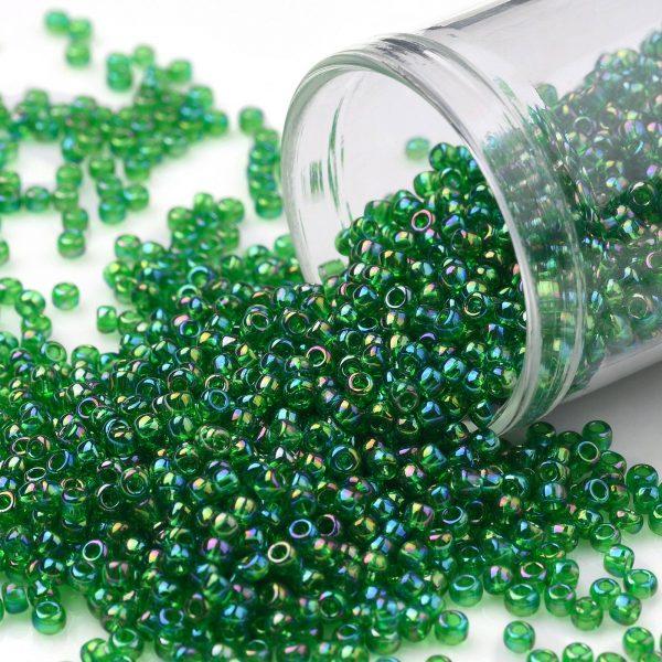 SEED TR11 0167B TOHO #167B 11/0 Transparent AB Grass Green Round Seed Beads, 10g/bag