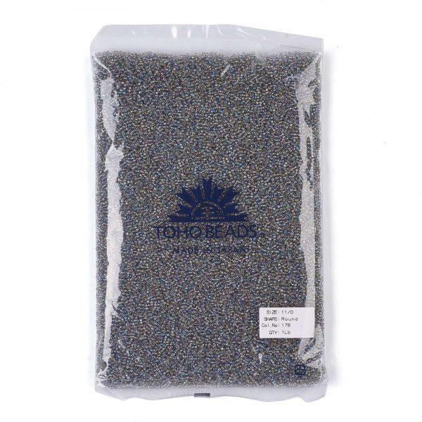 SEED TR11 0176 4 TOHO #176 11/0 Transparent AB Black Diamond Round Seed Beads, 450g/bag